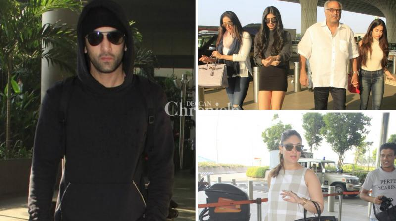 Several Bollywood celebrities like Ranbir Kapoor, Kareena Kapoor Khan, Sridevi with her family, among others were spotted at the Mumbai airport on Friday. (Photo: Viral Bhayani)