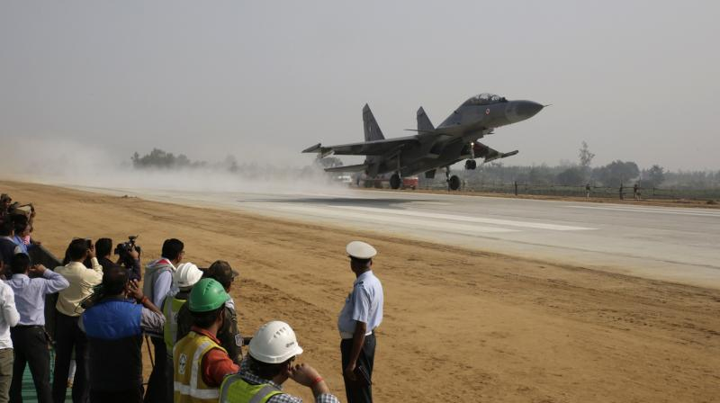 Image result for agra lucknow expressway fighter plane landing