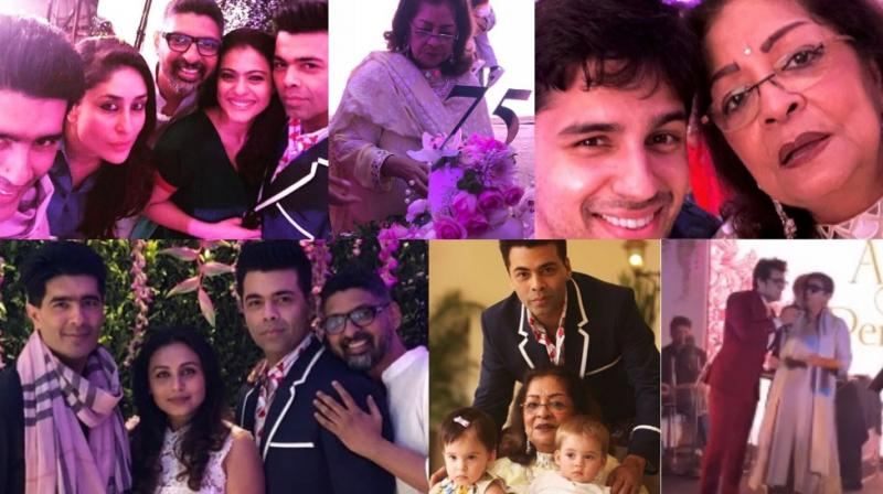 Screengrabs from the pictures and videos on Instagram of Hiroo Johar's 75th birthday bash.