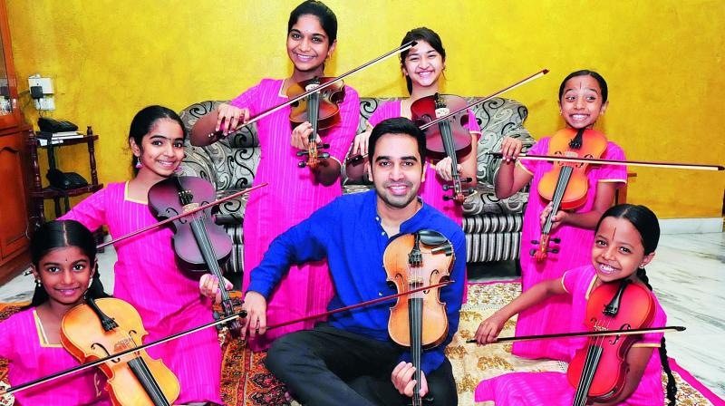 The  members of this group  are aged between nine and 14 years, and are taught by an engineer-turned- musician Tejas.