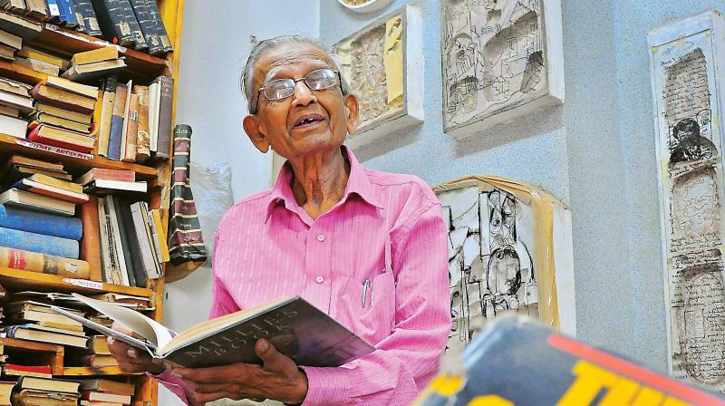 K.K.S Murthy, owner, Select Book Shop, at his store on Brigade Road  (Photo: Satish B.)