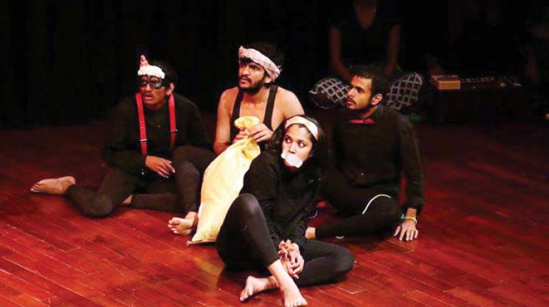 Artistes performing at the Jagriti Theatre