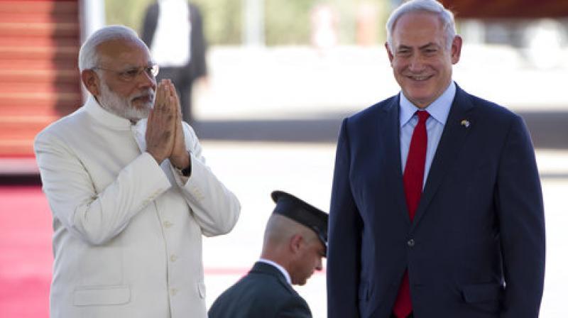 Indian Prime Minister Narendra Modi and Israeli Prime Minister Benjamin Netanyahu. (Photo: AP)