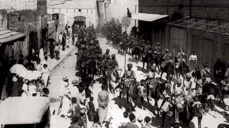Mysore Lancers march into Haifa, Israel after taking over the Port city in 1918 along with the Jodhpur Lancers.