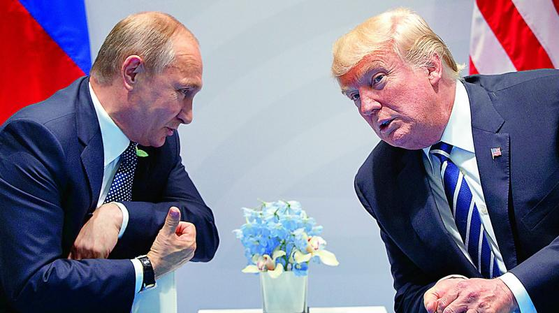 Russian President Vladimir Putin and US President Donald Trump at the G20 Summit in Germany.