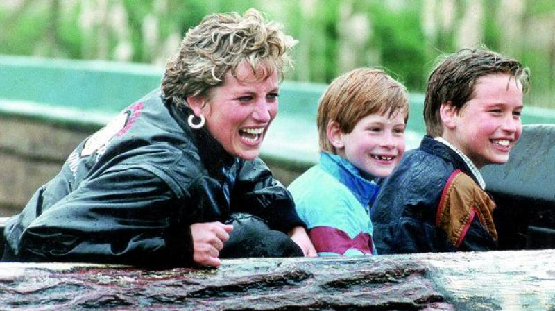 Diana with her sons in 1993, four years before her death