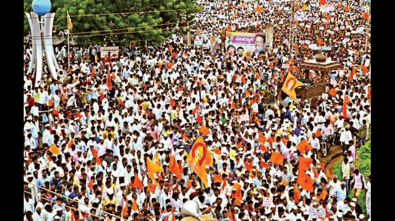 A file photo of the recent mega rally by Lingayats in Bidar