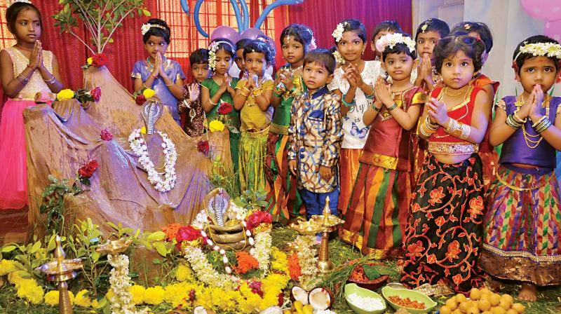 Women and kids celebrate Nagara Panchami in Dharwad on Wednesday(Photo: KPN)