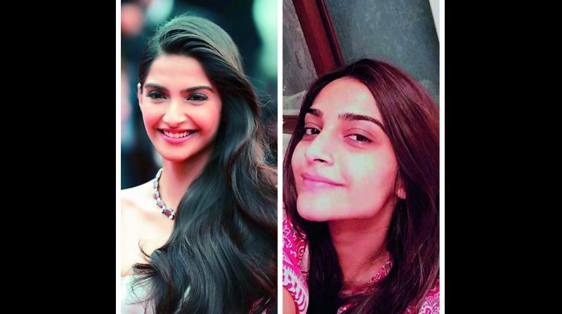 (Right) Sonam Kapoor looks ordinary without make-up, (left) the actress with make-up