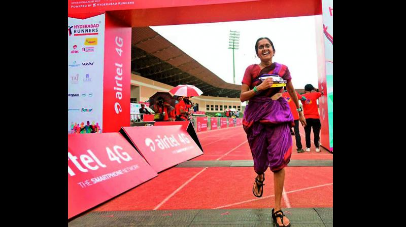 Jayanthi was running to support handlooms and encourage women
