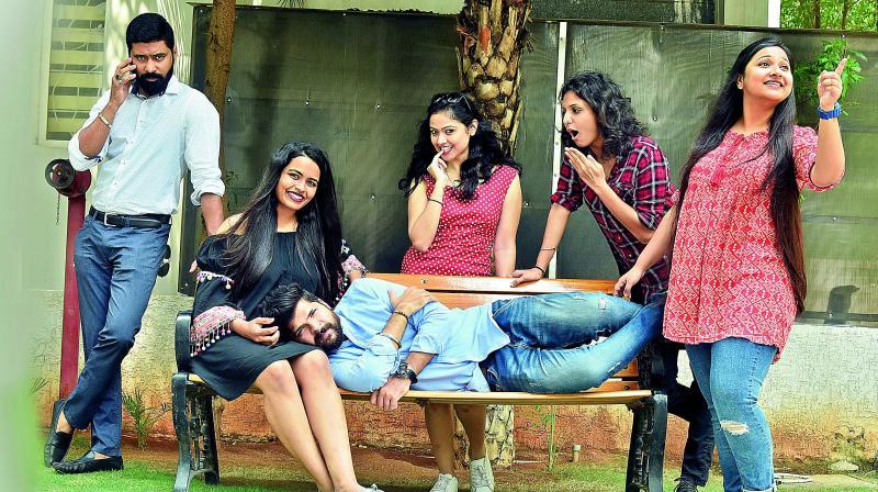 Director Taher Ali Baig with his lead actors Preksha, Varun, Sakshi, Snigdha and Neha