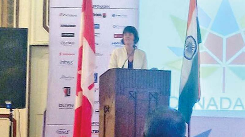 Consul General for Canada in South India Jennifer Daubeny speaks at the event in the city on Wednesday (Photo: DC)