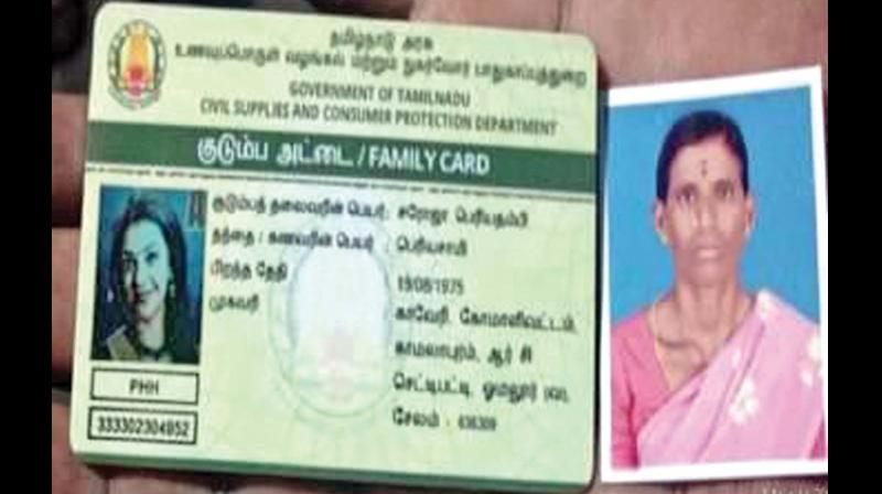 The ration card of Saroja with picture of actress Kajal Agarwal (Photo: DC)