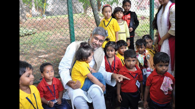 Nobel Laureate Kailash Satyarthi visited the city to launch 'LEHER', an all India competition to make 52 minute film against child sexual abuse at a function organised by the CII – Young Indian, in Bengaluru on Saturday (Photo: DC)