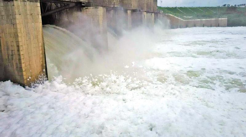 Toxic foam seen in south Pennar river (Photo: DC)