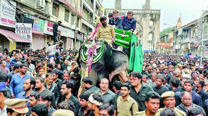 The Bibi-ka-Alam procession which was taken out in the Old City on Sunday. Thousands participated in the procession (Photo: DC)