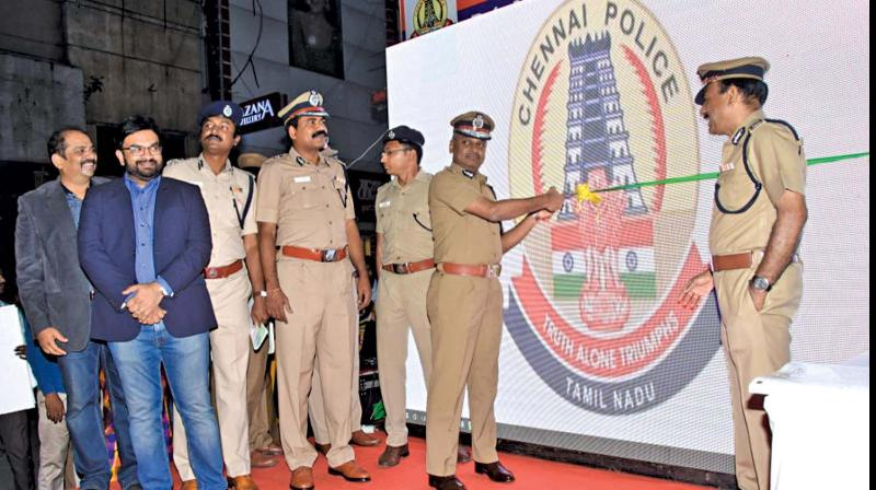 City Police Commissioner A. K. Vishwanathan  inaugurates CCTV cameras with face detection  technology in the city on Sunday (Photo: DC)