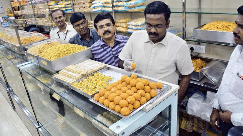 FSSAI officials inspect sweet shops at Pursawalkam before Deepavali. (Photo: DC)