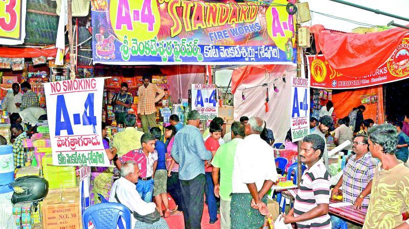 People shop for crackers in Guntur city. (Photo: DC)