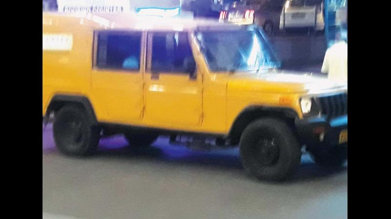 The cash transfer van in which the accused Udhaya Kumar fled with Rs 28 lakh. (Photo: DC)