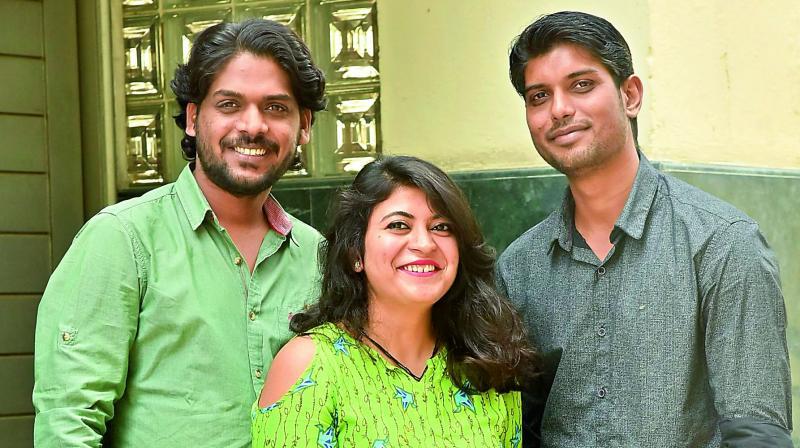 Members of the Safarnama group — Ashish Shrivastava, Eipsa Aru and Shashank Srivastava