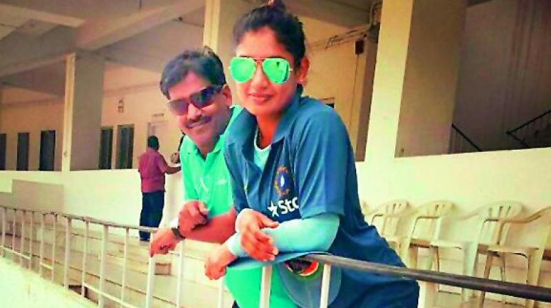Indian women cricket team captain Mithali Raj with her coach RSR Murthy.
