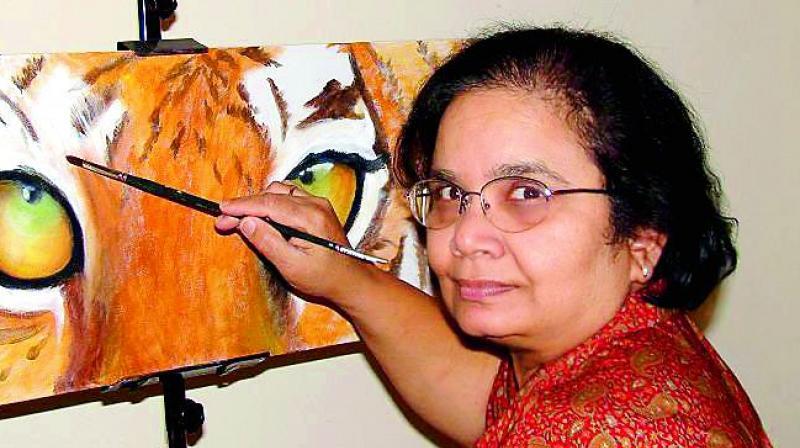 Artist Usha Patibandla working wonders with her paint brush