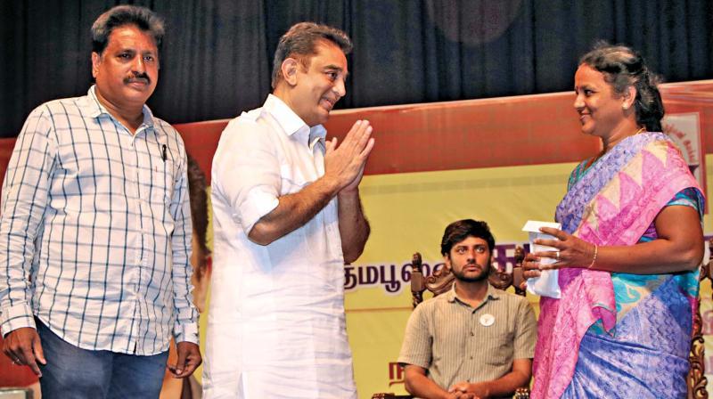 Actor Kamal Haasan at a function marking the 39th anniversary of his fan/welfare club (Kamal Haasan Narpani Iyakkam). (Photo: DC)