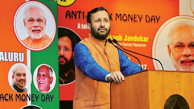 Union minister Prakash Javadekar speaks during an Anti-Black Money Day event in Bengaluru on Wednesday