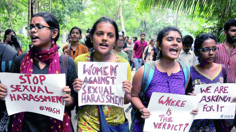 Picture of a rally against sexual harassment carried for representational purposes only
