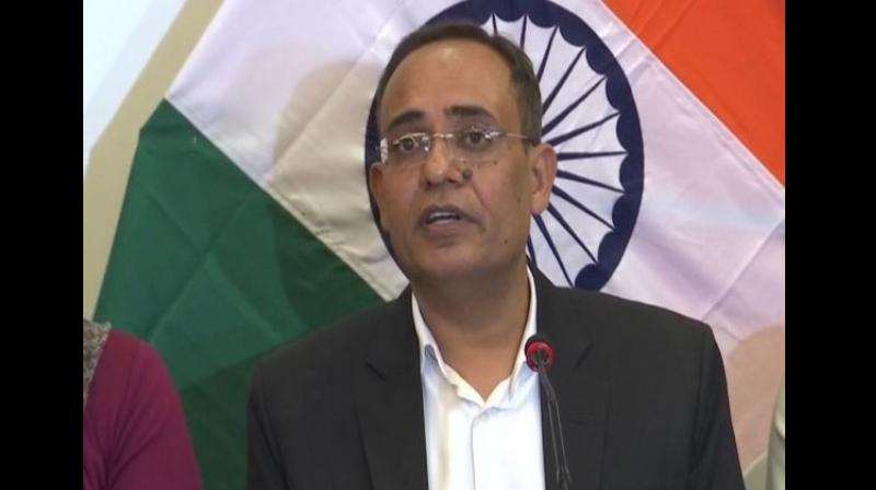 """""""It has been noticed that despite easing of restrictions in over 90 per cent of the Valley, threats by anti-national elements have been keeping many markets from opening,"""" Principal Secretary Rohit Kansal said at a press conference while briefing on the security situation in the Valley. (Photo: ANI)"""