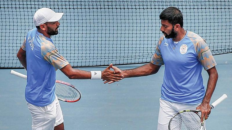 Divij Sharan (left) and Rohan Bopanna. (Photo: AP)