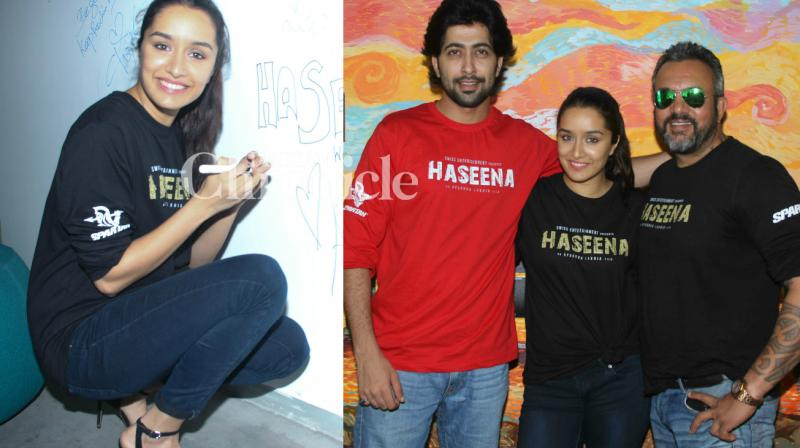 Shraddha Kapoor, Apoorva Lakhia and Ankur Bhatia launched the teaser of their film 'Haseena Parkar' at Facebook's office in Mumbai on Friday. (Photo: Viral Bhayani)