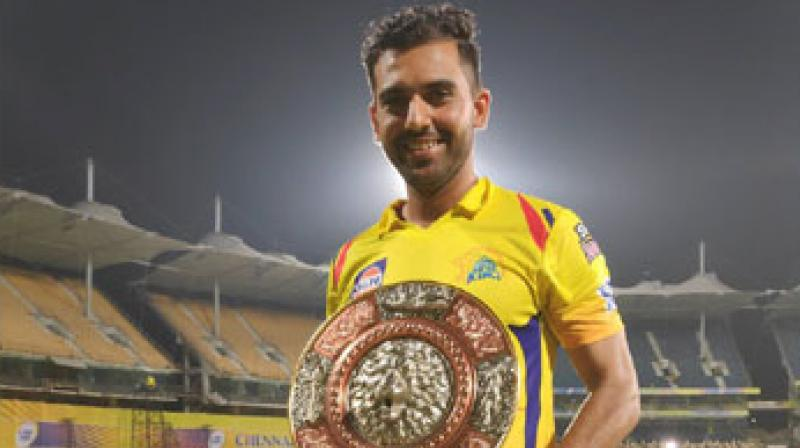 The player was at his lethal best as he dismissed Knight Riders' batsmen Chriss Lynn (0), Robin Uthappa (6) and Nitish Rana (0).  The 26-year-old was also able to bowl five dot balls in the 19th over of the Knight Riders' innings and he was able to bog down the big-hitter Andre Russell. (Photo: Chennai Super Kings Twitter)