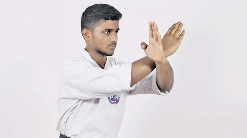 Tharun at Karate pose