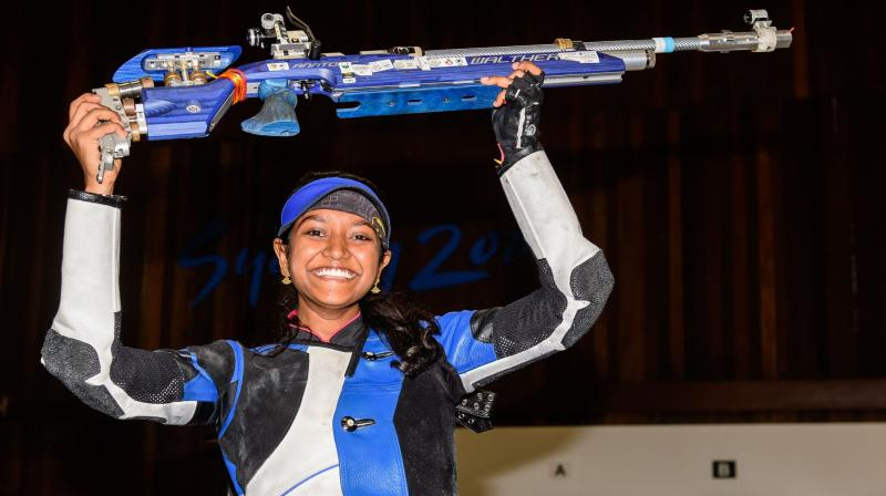 The 18-year-old Elavenil, competing in her second World Cup and first final, shot 249.8 in the women's final to claim the top individual honours. Her 631.4 in the qualification was a new world record. (Photo: Twitter / ISSF)