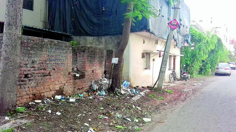 Garbage lies uncleared at Jyothi Colony, Ward 3, in the Secunderabad Cantonment in this picture provided by Ch Sai Baba. The area also has many illegal structures.