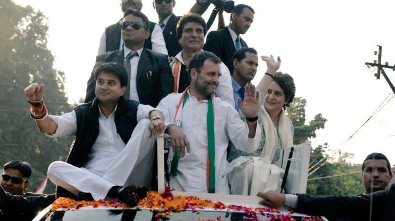 The mega roadshow by Rahul Gandhi, Jyotiraditya Scindia and Priyanka Gandhi Vadra marked Priyanka's active entry into politics. (Photo: Twitter | @INCUttarPradesh)
