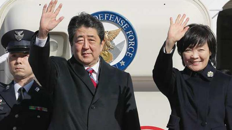 Abe arrives in Estonia on 1st leg of European tour