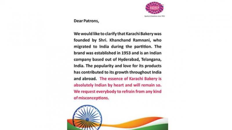 The clarification in the bakery's Facebook page.