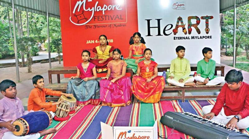 School students perform at Mylapore Festival 2018 at Nageswara Rao Park in the city on Thursday. (Photo: DC)