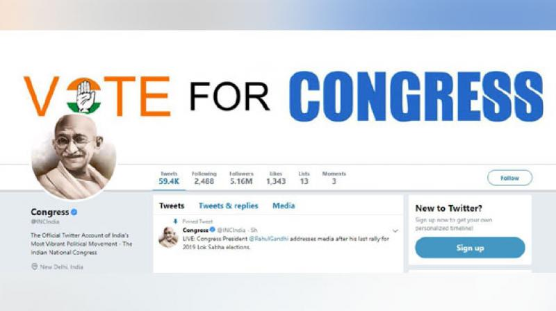 Twitter page of Indian National Congress (Photo: ANI)