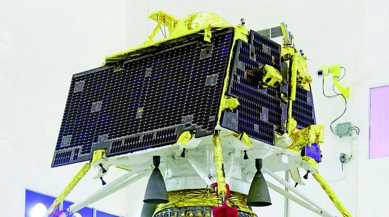 Vikram lander mounted on top of the orbiter of Chandrayaan-2