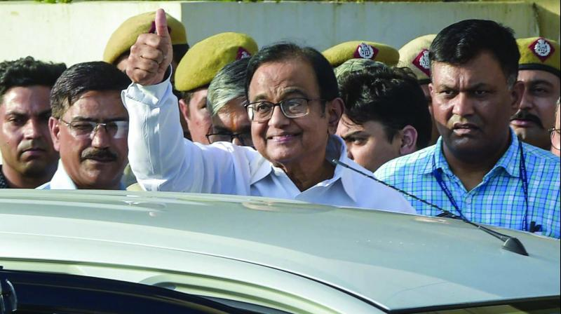 Congress leader and former finance minister P. Chidambaram being taken to court by the CBI officials in the INX Media money laundering case, in New Delhi. (PTI)