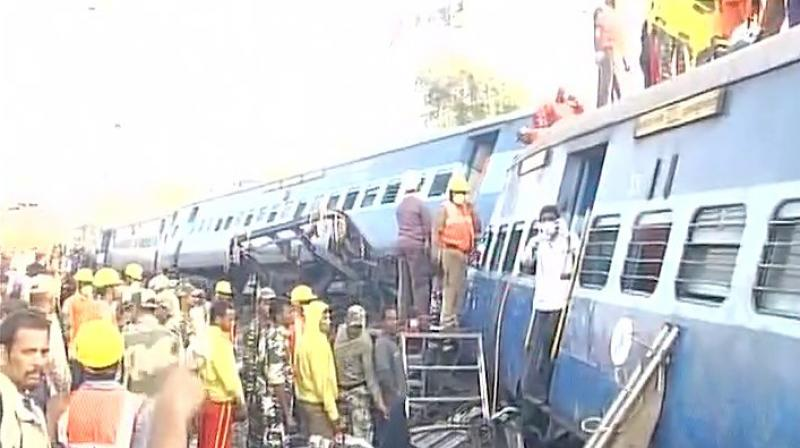 Reports also said that the engine and luggage van of Hirakhand Express also got derailed. (Photo: ANI Twitter)