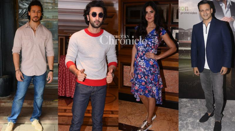 The cast and crew of the films 'Jagga Jasoos', 'Munna Michael' and the web series 'Inside Edge' were spotted during the promotions of their respective projects. (Photo: Viral Bhayani)