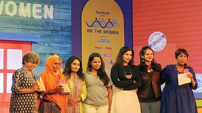 Kavita Srivatsa, Bhanwaridevi, Angela Mondola, Sandhya Menon, Chinmaya Sripada, Sruthi Hariharan and Barkha Dutt who took part in a session on 'We, the Women,' in Bengaluru on Sunday