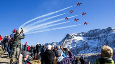 Every year in late autumn, the Swiss Air Force pilots show their skills in the Swiss Alps above Axalp.