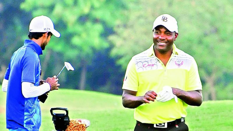 West Indian great Braian Lara in smiles during an amateur golf tournament in Hyderabad which he is playing along with a team from Trinidad and Tobago. (Photo: DEEPAK DESHPANDE)