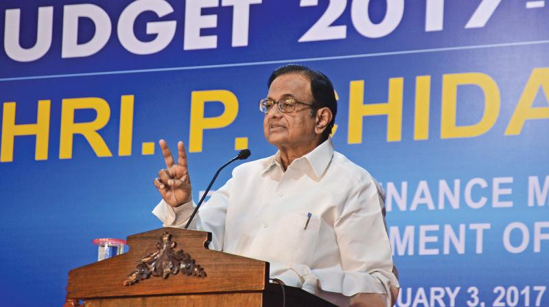 Former finance minister P. Chidambaram addresses the audience during a post-budget reaction conference at Loyola Institute of Business Administration  on Friday. (Photo: DC)